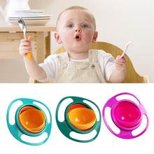 Child Universal Gyro Bowl Children Rotating Balance Bowl Baby Food Dish 360 Rotate Spill-Proof Bowl Kids Anti Messing bowls(China)