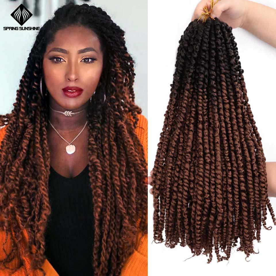 18inch Ombre Pre Twisted Passion Twist Crochet Hair Pre-looped Fluffy Crochet Braid Hair Ombre Synthetic Braiding Hair 11strands image