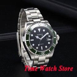 40mm parnis Miyota 8215 czarna tarcza świecący zielony ceramiczna ramka szkiełka zegarka szafirowe szkło automatyczny mechaniczny zegarek męski na rękę mężczyźni 637|wristwatch mens|wristwatch mens automaticwristwatches automatic -
