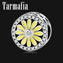 Элегантные цветущие цветы Шарм серебряные бусины 925 пробы подходит Pandora серебряные браслеты-Обручи 925 ювелирных изделий