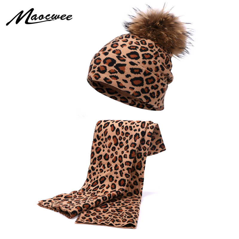 New Winter Leopard Printed Hat Scarf Set With Pompon Woman Knitting New Crochet Warm Hat Skullies Unisex Caps Warm Beanie Suits
