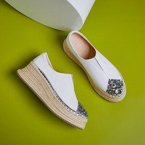 Image 5 - Лоферы женские из натуральной кожи, без застежки, платформа, плоская подошва, мягкие удобные мокасины, повседневная обувь с конопляной толстой подошвой