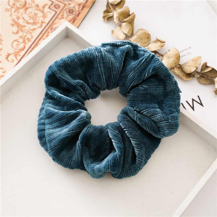 Korea Frauen Dicke Dickdarm Haar Seil Winter Samt Streifen Strukturierte Pferdeschwanz Halter Schwanz Wrap Elastische Scrunchies Neue