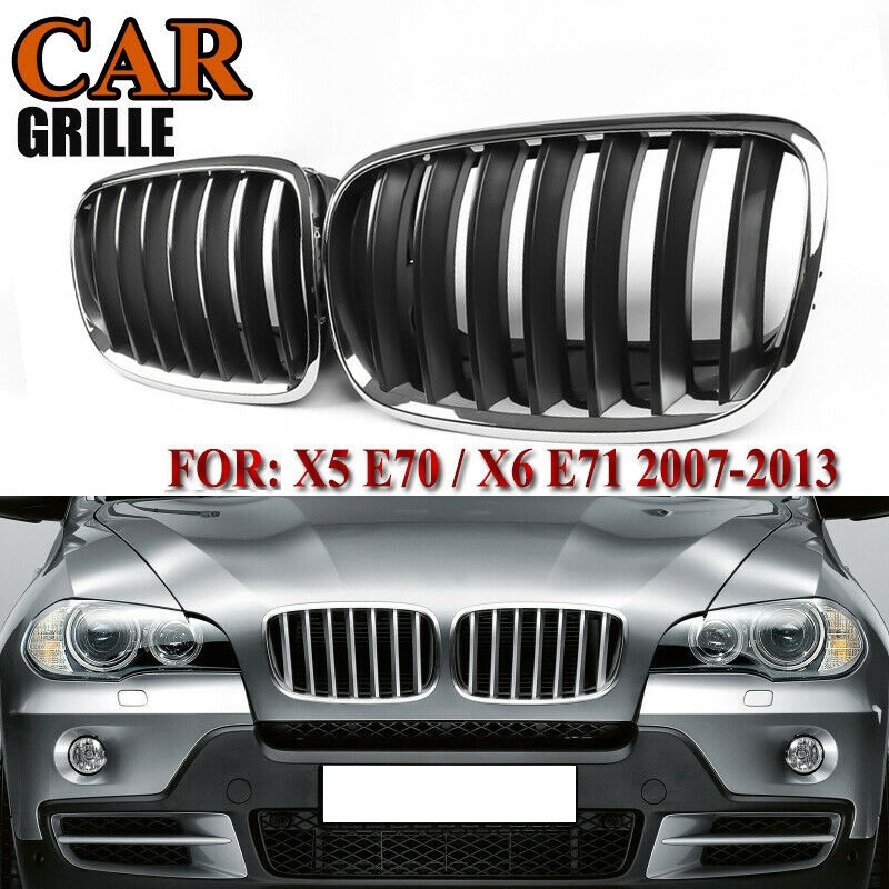 X5 X6 Grill Black+Chrome Frame Front Bumper Kidney Grille for -BMW X5 E70 X6 E71 2007-2013 51137157687 51137157688