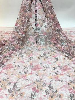 5colors (5yards/pc) High quality pink grey African party lace fantastic embroidered French net lace fabric with sequins FZZ767