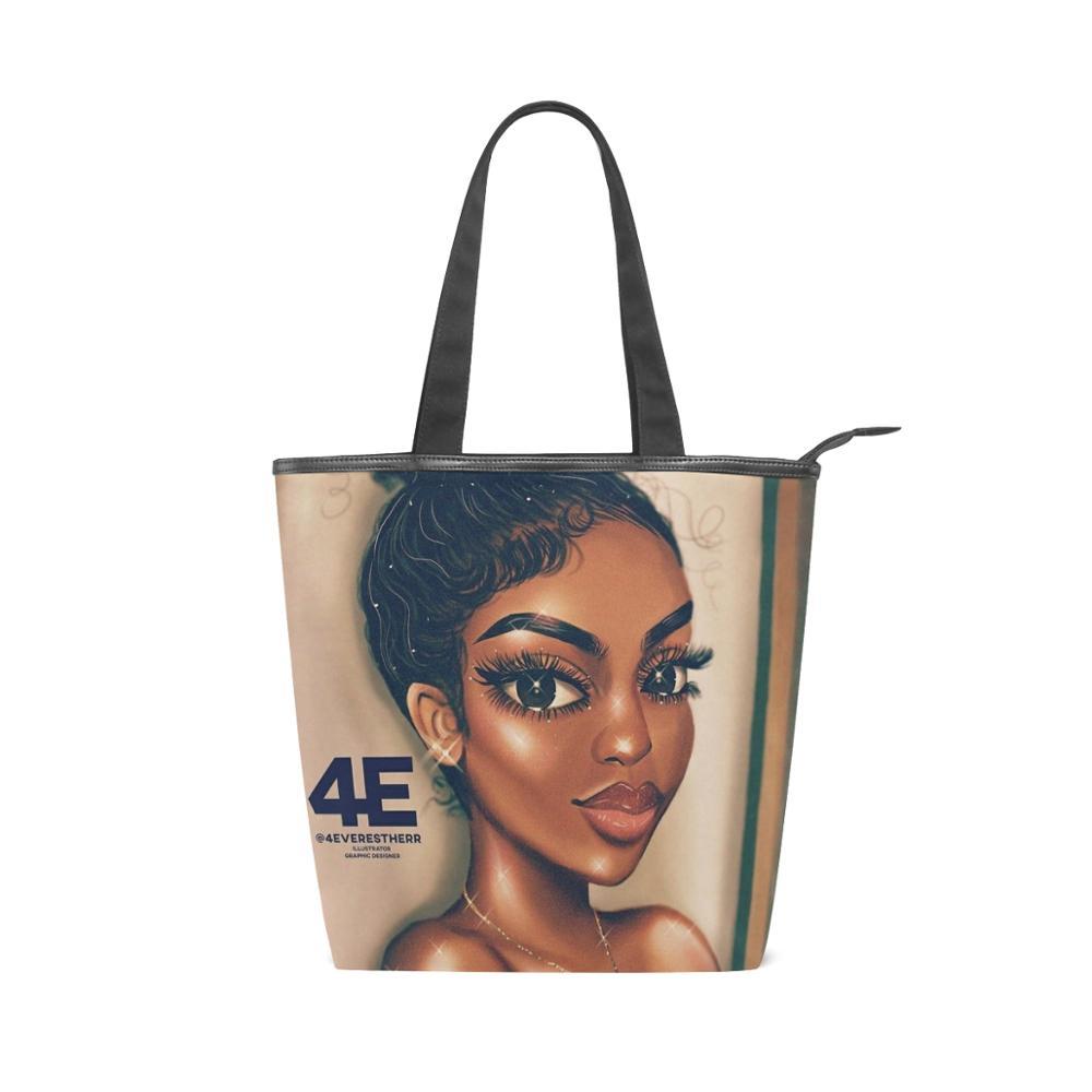 ALAZA Handbag Shopper Canvas Beach Cloth Shoulder Bag Afro Girls Black Women's Big Tote Ladies Casual Customizable Drop Shipping