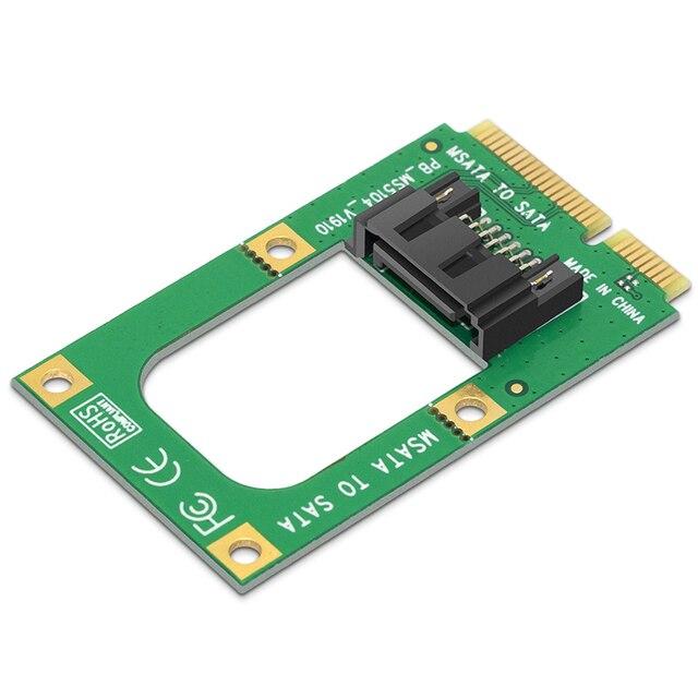 "mSATA to SATA Converter Card Mini SATA to 7-Pin SATA Extension Adapter Full-high Half-size for 2.5"" 3.5"" HDD SSD with SATA Cable 3"