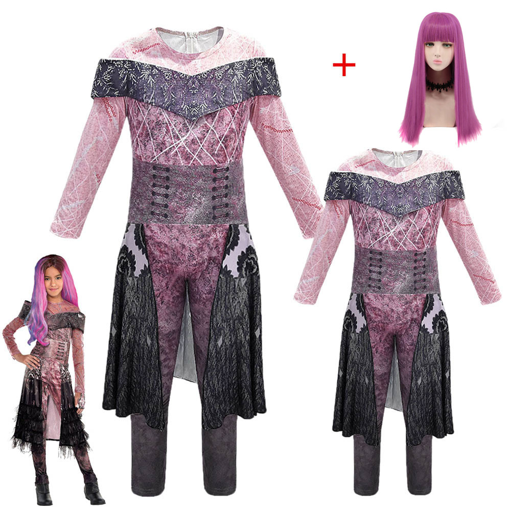 Girls/women Queen Of Mean Descendants 3 Mal Bertha Maleficent Cosplay Audrey Costume Girls Halloween Party Clothing 3D Jumpsuits