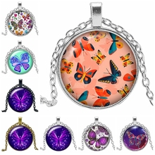 2019 Hot New Charm Flower Butterfly Necklace Pendant Tricolor Birthday Gift Banquet