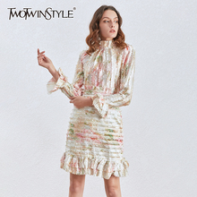 TWOTWINSTYLE Print Patchwork Ruffle Women Dress Stand Collar