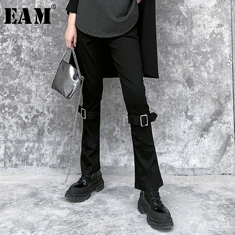 [EAM] High Waist Black Buckle Split Joing Long Wide Leg Trousers New Loose Fit Pants Women Fashion Tide Spring Autumn 2020 1S885