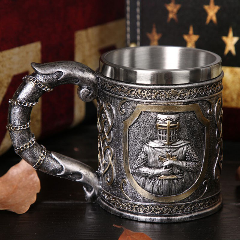 Knight Skull Beer Mug Drinking Cup Fine Workmanship Stainless Steel Halloween Gift Beer Goblet For Both Drinking Home Decoration
