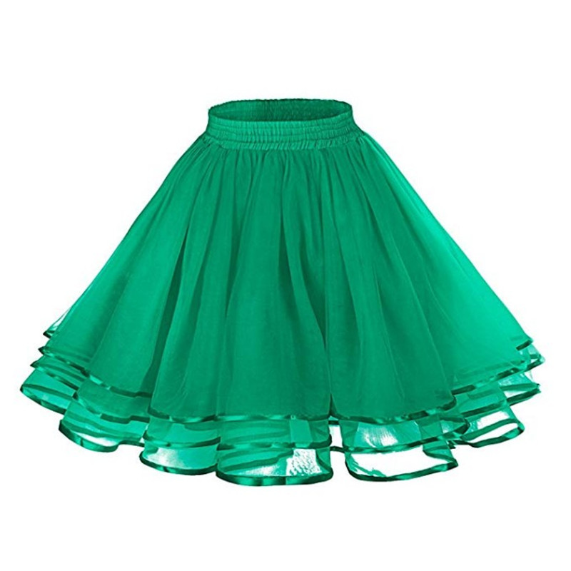 Lady Black White Swing Rockabilly Skirt Party Prom Dancing Lolita Underskirt Double Layers Solid Color Short Tulle Petticoats