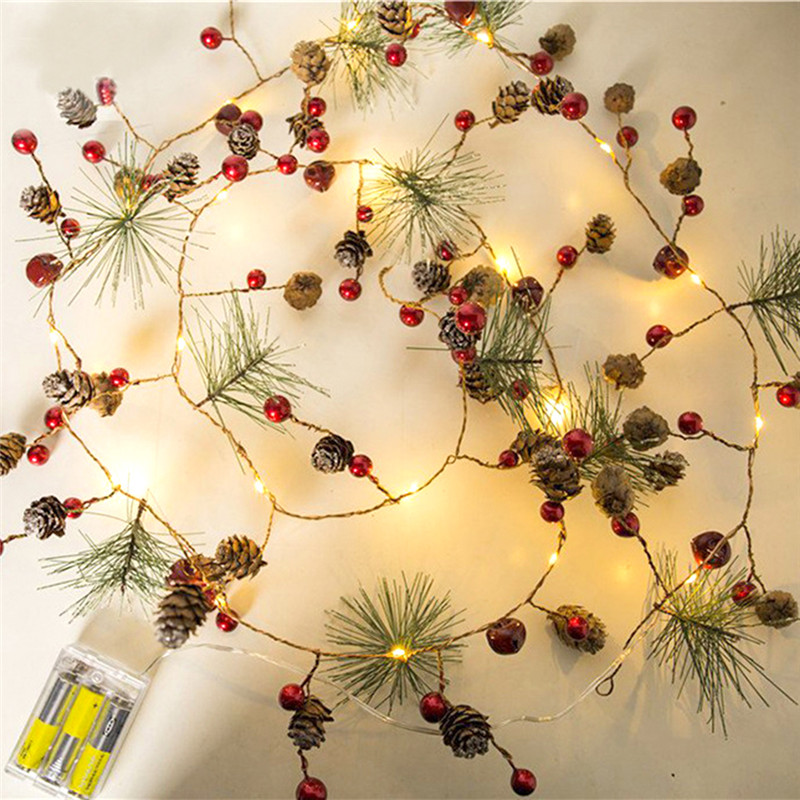 Red Berry Christmas String Lights Garland Light LED Copper Fairy Lights Pinecone String Lights Xmas Holiday Tree Home Decoration