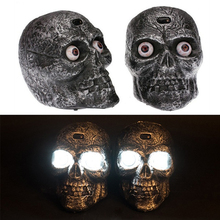 Halloween Battery LED Skull Voice Light Control Luminous Eyes Ghost Screaming Mourning Skeleton Head Joke Mess Toy Party