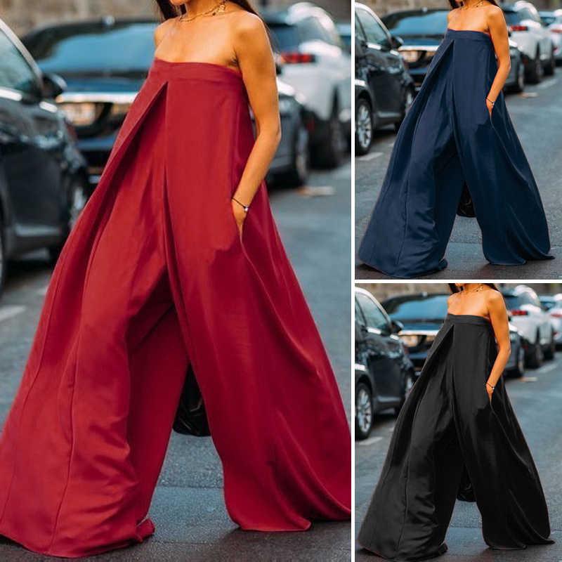 Костюмы, женские комбинезоны 2019 VONDA Лето в стиле гарема, с широкими штанинами, Брюки Женская Повседневная рубашка без рукавов, большие размеры, женские Pantalon 5XL