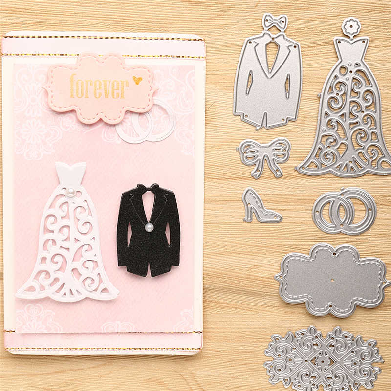 Troqueles de boda de inloveearts, troqueles de Metal para álbum de recortes, tarjeta de álbum, plantilla de grabado en relieve para decoración, troqueles
