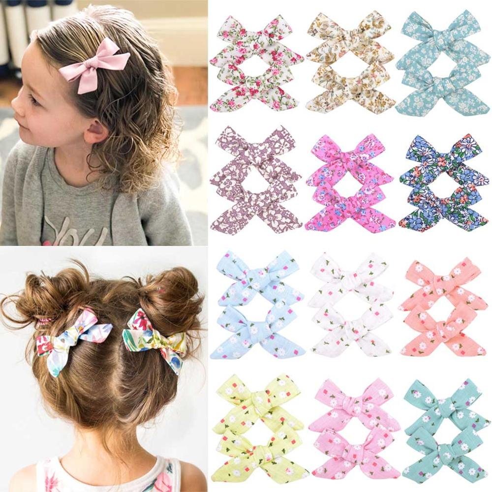 New 2pcs/set  Lovely Baby Girls Print Flower Boutiq Kids Bowknots  BB Hair Clips Bows Girls Hairpin Barrette Hair Accessories