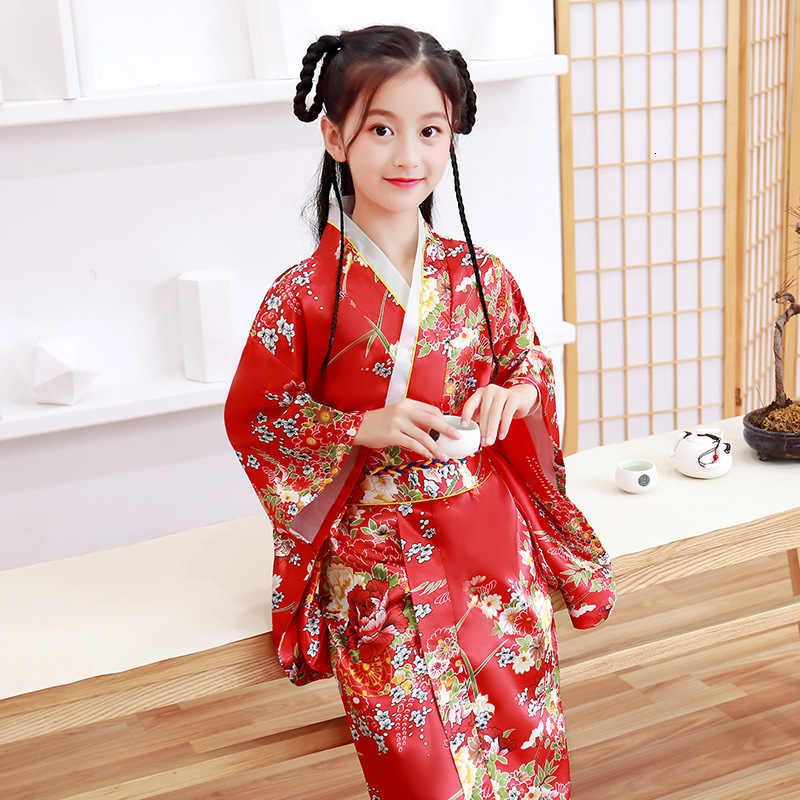 اليابانية نمط الفتيات التقليدية كيمونو الاطفال الأصلي آو داي يوكاتا الزفاف اللباس الأطفال الرقص Haori المتناثرة تأثيري ازياء