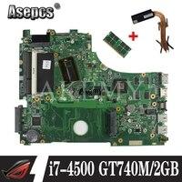 Для ASUS A750J K750J K750JB X750JB X750JN материнская плата для ноутбука тест 100% ОК i7-4500 GT740M/2 ГБ свободный радиатор + 4 Гб RAM