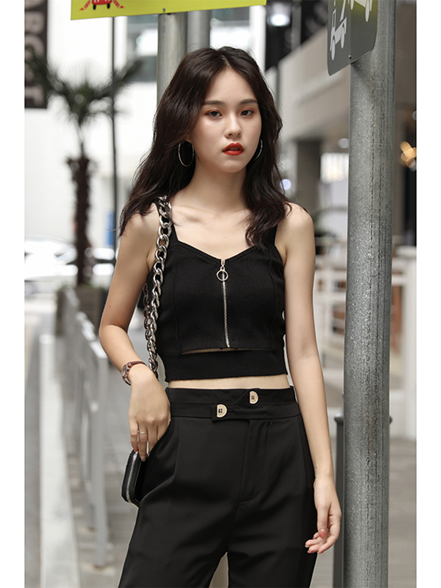 H7bb0a4d0880541f1b5b4b654062d196eu - HELIAR Tops Women Crop Top Club Sexy Zipper Knitting Camisole With Hole Female Tank Tops Ladies Sleeveless Solid Strap Top Women