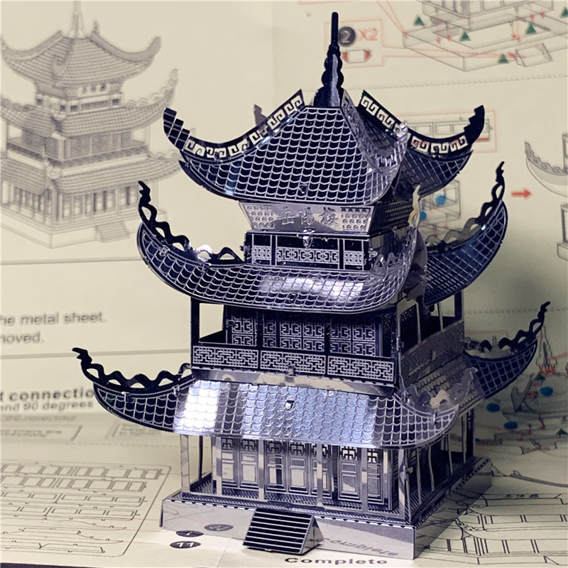 MMZ MODEL Nanyuan 3D Metal Puzzle Yueyang Tower Chinese Architecture DIY Assemble Model Kits Laser Cut Jigsaw Toy Gift