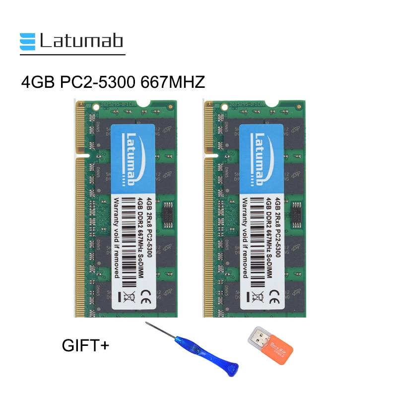 8GB 4GB 2GB PC2-5300 DDR2 DDR2-667MHZ 200pin SODIMM Laptop Memory RAM lot