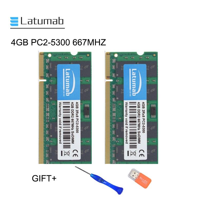 Latumab 4GB 8GB DDR2 667mhz PC2 5300 dizüstü bellek SoDimm ram bellek 200 Pins yüksek kalite dizüstü modülü SODIMM 1.8V RAM