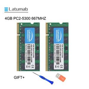 Latumab, 4GB, 8GB, DDR2, 667mhz, PC2, 5300, memoria Ram de ordenador portátil, SoDimm, 200 Pines, módulo de portátil de alta calidad, SODIMM, 1,8 V de RAM