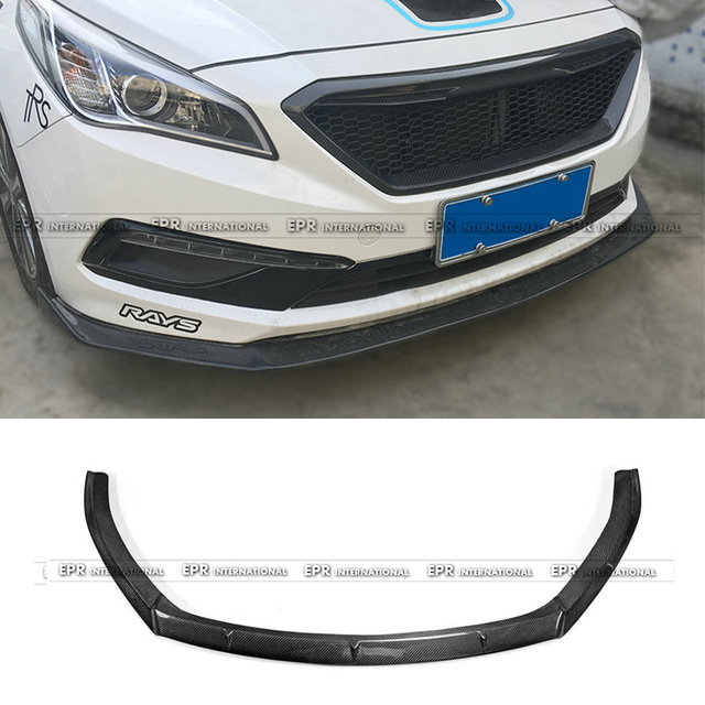 Pour Hyundai 9th Gen Sonata LF 2015 sur la lèvre avant en Fiber de carbone Version KDM brillant Fibre pare-chocs séparateur Kit de carrosserie Accessoires de voiture