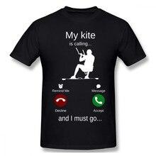 Meu kite está chamando e eu devo ir kitesurf t camisa grande tamanho o-pescoço algodão personalizado manga curta camisa masculina