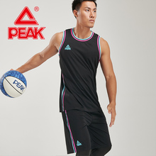 PEAK 2 Pieces Men's Running Basketball Competition Suits Breathable Quick-Drying Gym Train Sets Polyester Vest Shorts Sportswear