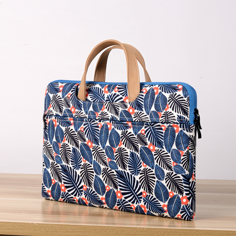 Computer Bag Business Briefcase Ultrathin Canvas Printing Flower Laptop Bag For Macbook Pro Air Unisex Handbag