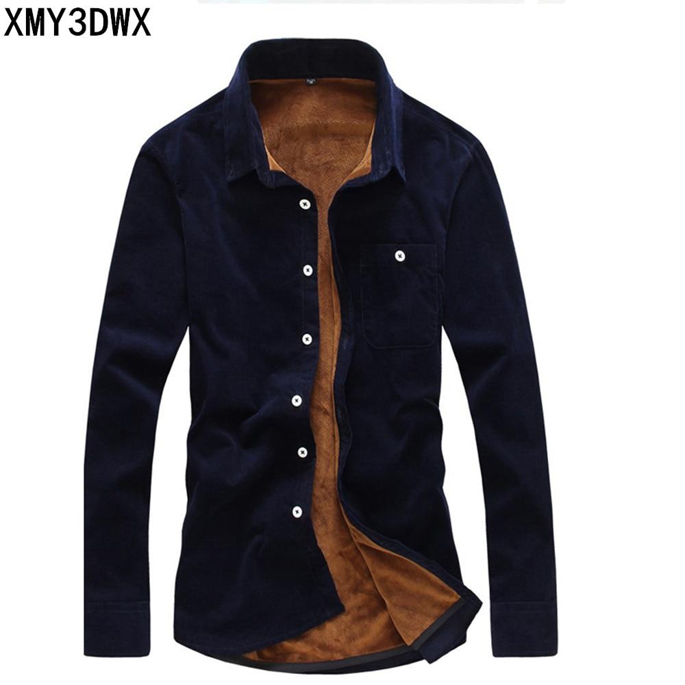 2018 Fashion Mens Flannel Quality Winter Shirt Men Slim Fit Long Sleeve Thermal Warm Velvet Padded Hawaiian Shirt