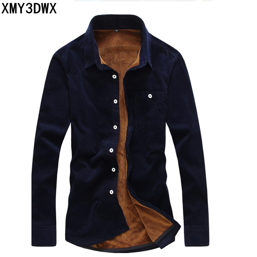 2018 Fashion <font><b>Mens</b></font> Flannel Quality <font><b>winter</b></font> <font><b>shirt</b></font> <font><b>Men</b></font> Slim Fit Long Sleeve Thermal <font><b>Warm</b></font> Velvet padded Hawaiian <font><b>Shirt</b></font> image