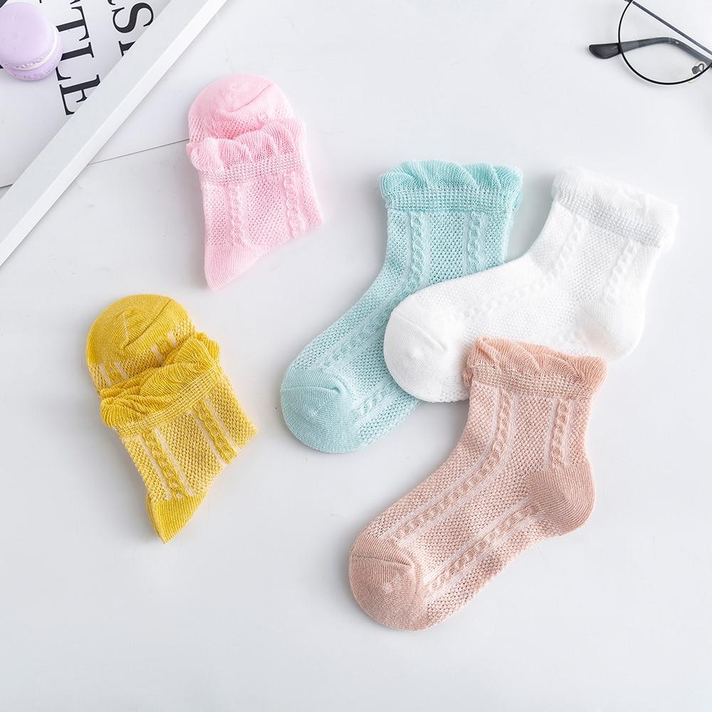 5Pairs/lot 2-9Y Baby Socks Summer Cotton Jacquard Thin Kids Socks Solid Colorful Girls Mesh Cute Newborn Boy Toddler Socks Baby 2