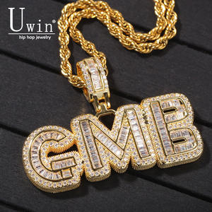 UIWN Custom Bubble Letters Necklace With Name Men's Zircon Pendant Commission Gift Jewelry