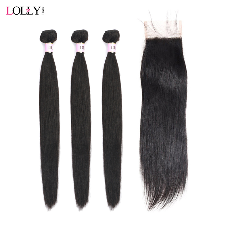 Lolly Brazilian Straight Human Hair Bundles With Closure Natural Color Hair Bundles With Closure Free Part With Baby Hair