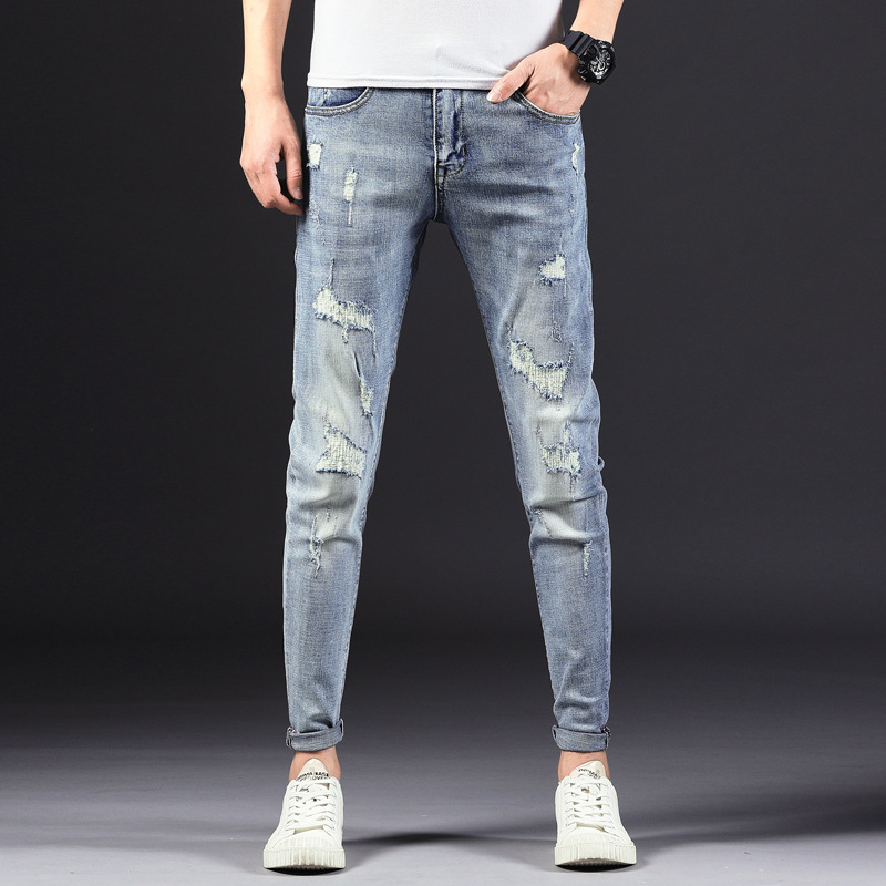 Spring And Summer New Style Korean-style Men's Elasticity Slim Fit Cowboy Trousers Youth Fashion With Holes Skinny Pants 1112