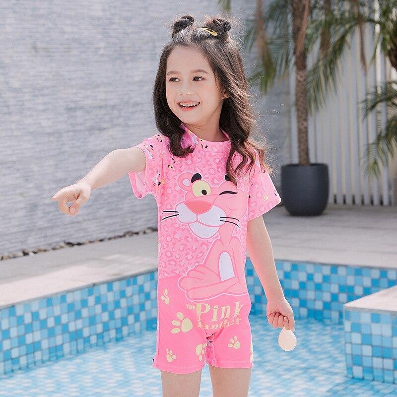 2019 Girls Digital Printing Tigger Women's Small CHILDREN'S Bathing Suit Children GIRL'S One-piece Boxers Quick-Dry Zipper Swimw