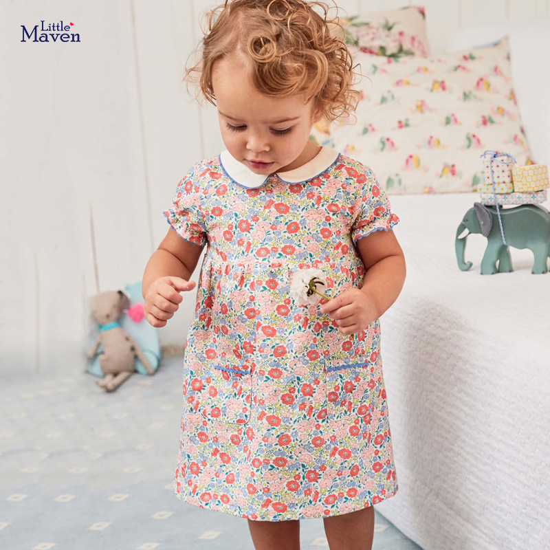 Little Maven Dress 2020 New Summer Baby Girls Clothes Floral Children's Dress Cotton Flower Print Peter Pan Collar Kids Dresses