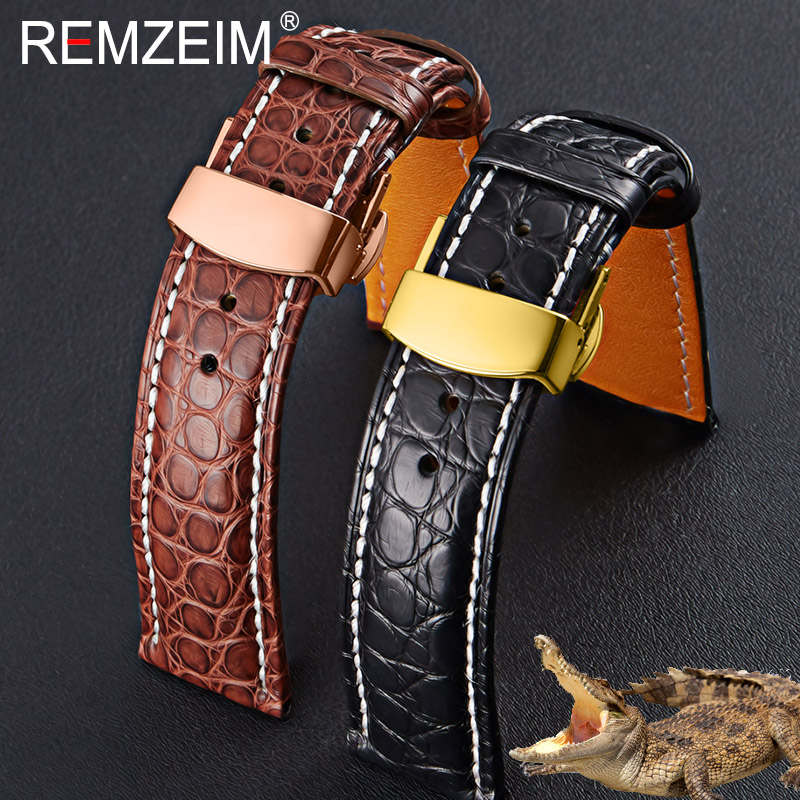 Crocodile leather watchband 18 19 20 21 22mm Black Brown Alligator Strap With Automatic butterfly Clasp Men Women Free tools