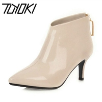 Tuyoki Office Ladies Work Ankle Boots Thin High Heels Zipper Short Boots Pointed Toe Simple Sexy Shoes Woman Party Size 32 43
