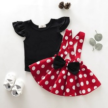 Polka Dot Girls Clothes Kids Clothes Set 2Pcs Summer Ruffle Sleeve Tops+Bow Skirt Crew Neck Baby Girl Clothes 0-4 Years D35 2pcs lot spring autumn baby little girls knitted ruffle skirt suits children kids girl jersey skirt sweater bow tie frillies