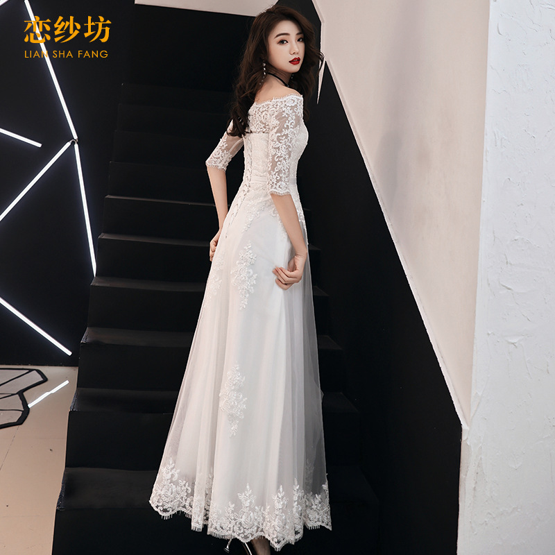 Dress Women's 2019 New Style Banquet Party Nobility Elegant Long Qidi Korean-style Off-Shoulder Slimming Evening Gown
