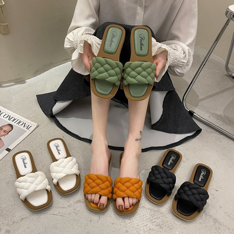 2021 Fashion Female Slippers Women Flat Weave Slides Sandal Ladies House Outdoor Beach Lady Shoes Woman Home Slippers Flip Flops