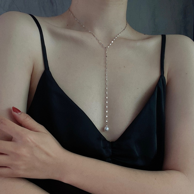 Necklace Women Beads Chain Simple Necklaces Jewelry Ladies Tassel Unisex Pendant Silver Color Trendy Sweet Zinc Alloy Naszyjnik