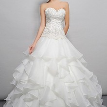 Free shipping 2018 designer bridal gown organza brides long custom plus beaded s