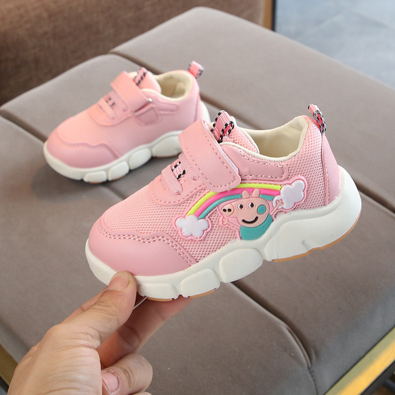 Children Girl Casual Shoes Soft-soled Bottom Breathable Toddler Kids Sneakers Mesh Cartoon Infant Baby Boy Walking Shoes 1*Pair