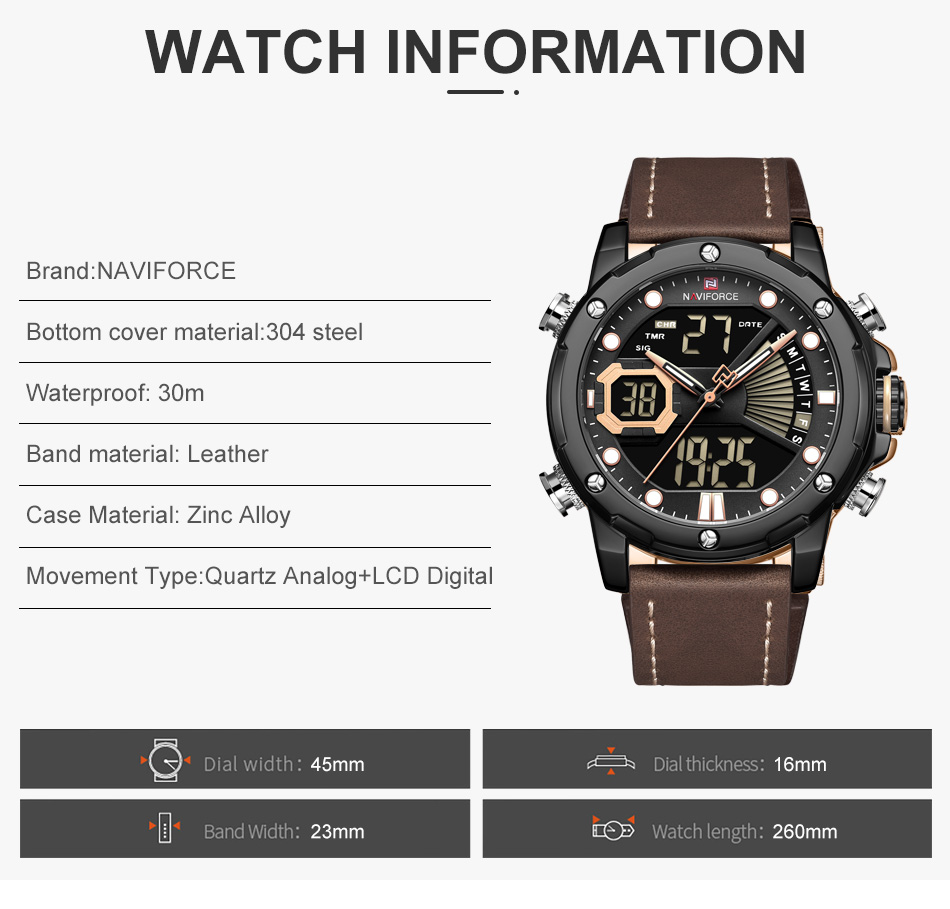 H7bb223daa64d4a5c8fcf79d452c8e133W NAVIFORCE Men Watch Top Luxury Brand Fashion Sports Wristwatch